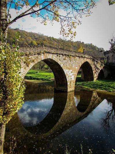 15th Century Arch Arch Bridge Autumn Aveyron Aveyron River Belcastel Bridge Historic History Languedoc-Roussillon Plus Beaux Villages De France