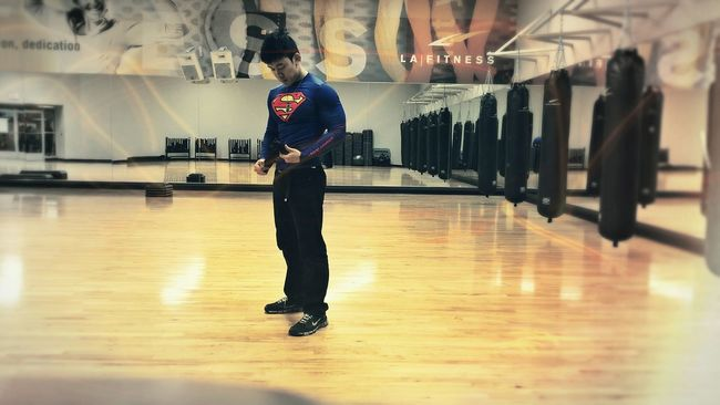 On A Health Kick. Superman has been asian all along! And he Exercices at Lafitness! Something about wearing a Superhero symbol that makes you feel Powerful at the Gym. A must! DC Comics Comics Workout