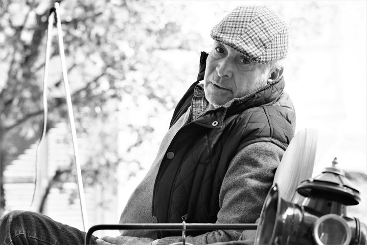 Adult Adults Only Blackandwhite Day Flat Cap Looking At Camera Men One Man Only One Person Only Men Outdoors People Portrait Real People Street Streetphotography Uniform The Street Photographer The Street Photographer - 2017 EyeEm Awards The Portraitist - 2017 EyeEm Awards