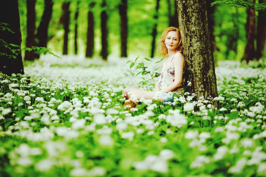 Beautiful Woman Forest Summer Portrait The Week On EyeEm Forest Green Lifestyle Blond Hair Woman In Forest Woman In Nature Fashion&love&beauty Fashion Model Fashion Female Model Young Woman White Flowers Field Of Flowers Forest Trees Nature Women Beauty In Nature Female Portrait Woman Portrait Woman Standing Agaunst Tree Lost In The Landscape