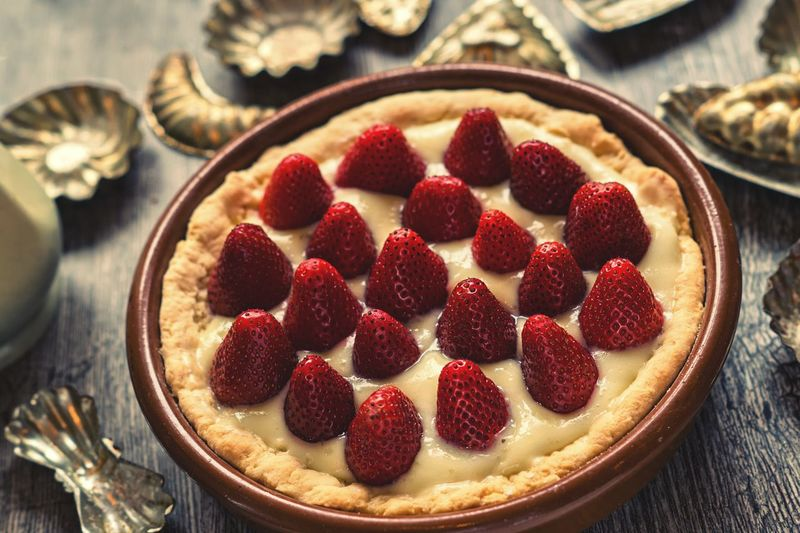 Close-Up Of Strawberry Vanilla Cream Tart