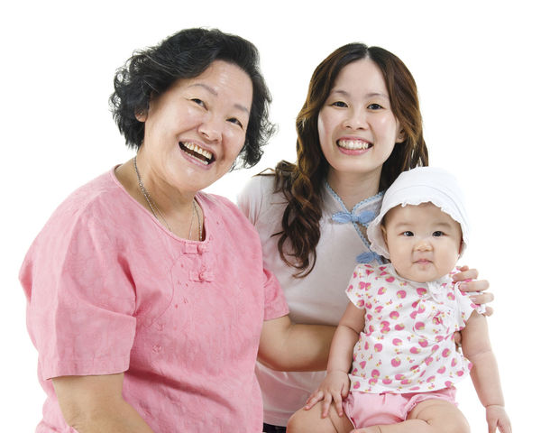 Adult Bonding Cheerful Child Daughter Day Family Females Girls Happiness Looking At Camera Mother People Pink Color Portrait Smiling Togetherness White Background