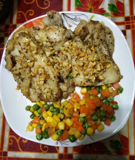 Fish Fillet Cream Dory Food Healthy Eating Freshness Plate Table Healthy Lifestyle Happy Tummy Foodgasm Foodporn Cellphone Photography Yummy