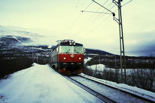 Sweden Abisko Boost Filter Train ここ、駅のホームなんですよwふつうに地面ですが。 これに乗ってノルウェーのナルヴィークへ移動しました。
