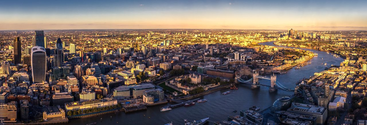 Aerial view of cityscape with tower bridge
