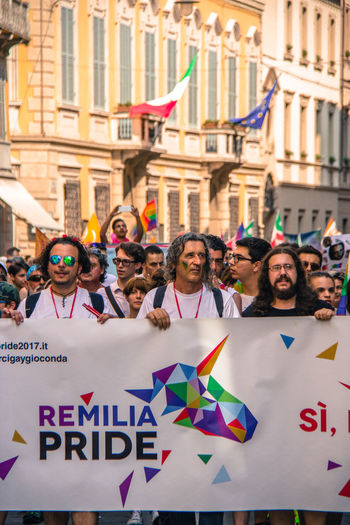 Gay Pride in Reggio Emilia ( 3rd June 2017 ) to protest against Xenophobia, Homophobia and for Gay Marriage and rights Crowd Day Gay Pride Gaypride Italy Large Group Of People Love Multi Colored People Protestor Real People The Photojournalist - 2017 EyeEm Awards The Street Photographer - 2017 EyeEm Awards
