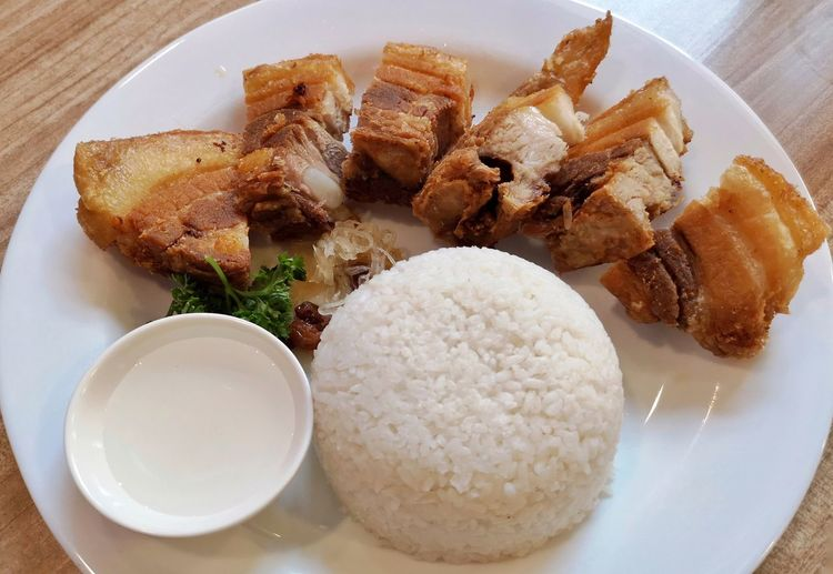 Lechon Kawali Lunch Fried Pork White Rice Filipino Food Plating Plate High Angle View Close-up Food And Drink Served Prepared Food