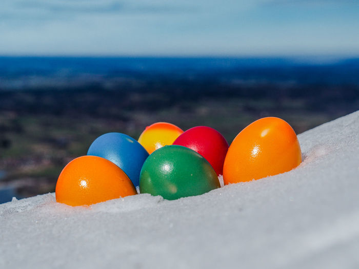 Easter Holiday Ice Painted Red View Winter Alps Bavarian Alps Blue Cold Color Colorful Egg Eggs Hilltop Hunt Lake Landscapee Mountain Orange Color Seasonal Snow White Yellow