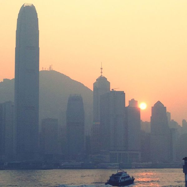Victoria Harbour Hong Kong Hong Kong Victoria Harbour Subset Sunrise