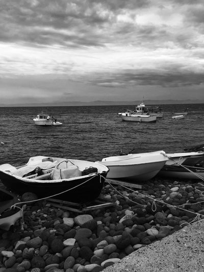 Nautical Vessel Mode Of Transport Transportation Water Nature Sky Moored Sea Day No People Outdoors Beauty In Nature Isole Eolie Black & White Capo D'Orlando Messina Beach