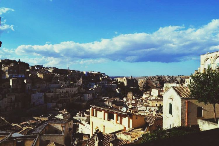 Matera City Landscape Houses Taking Photos Sunny Day Hello World