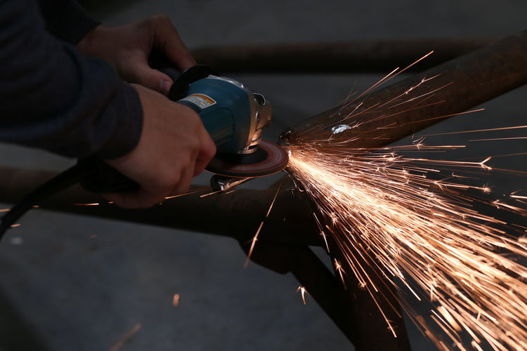 Close-up Grinder Grinding Long Exposure Real People Sparks Sparks Flying Working