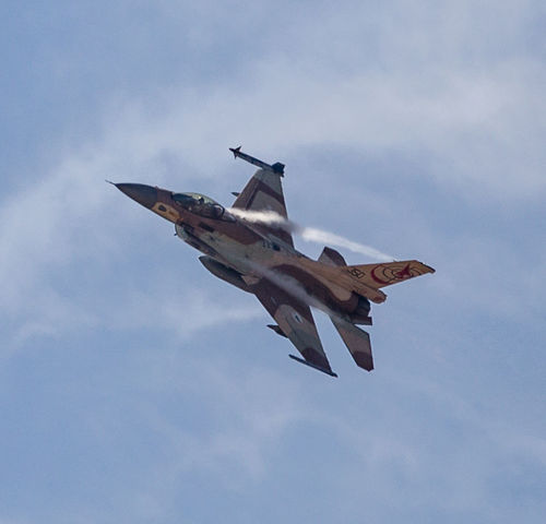 Air Force Airplane Aviation Blue Sky Cloud - Sky F-16 Fighter Plane Fighting Falcon Flight Flying General Dynamics IAF Israeli Air Force Low Angle View Mid-air Military Transportation