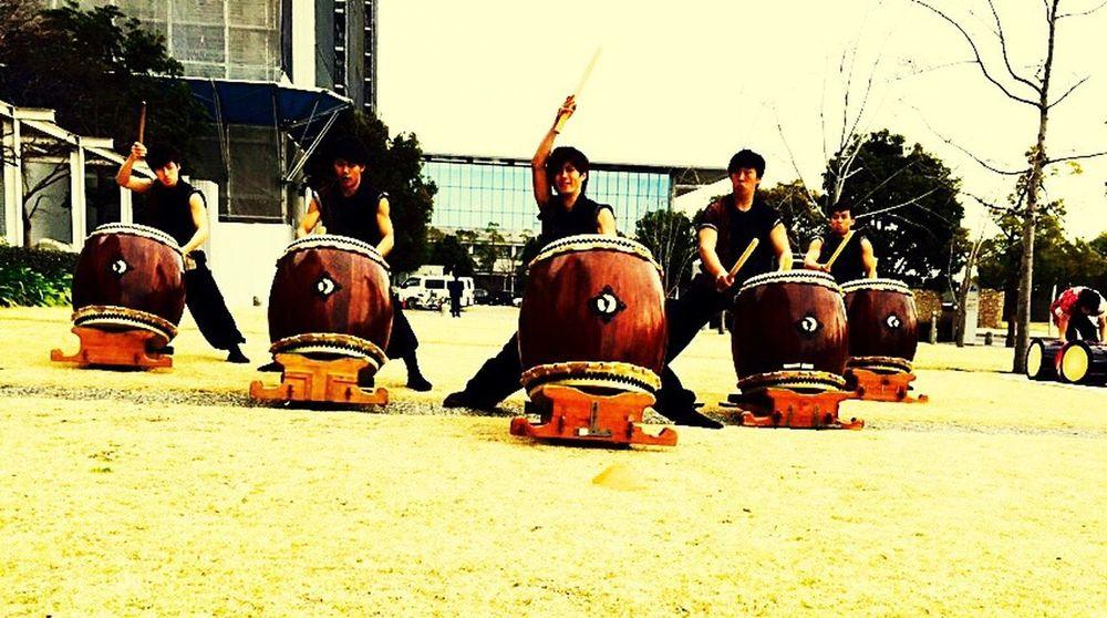 Taiko Japanese Drum Outdoors Perfomance Kobe Players