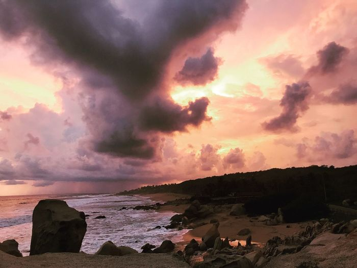 Sunset Sea Nature Cloud - Sky Beauty In Nature Sky Beach Dramatic Sky Horizon Over Water Playa Ventura Guerrero, México Mexico Travel Gaytraveller