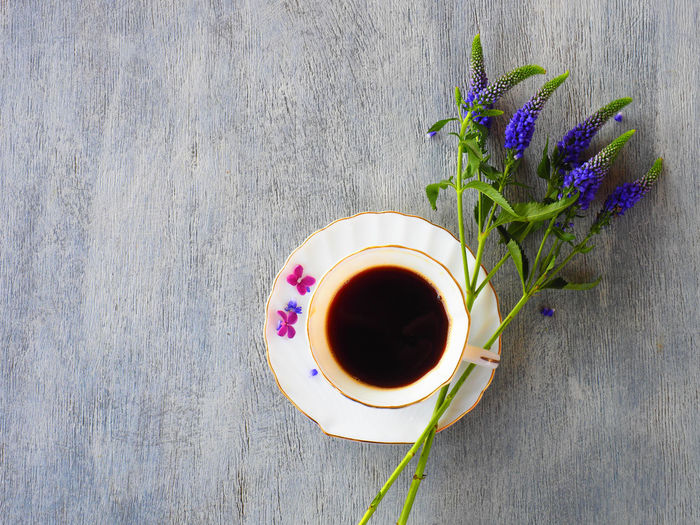 Table Plant Drink Freshness Refreshment Food And Drink Cup Flowering Plant Flower Mug Directly Above High Angle View Indoors  Tea Nature Coffee Hot Drink Coffee - Drink Wood - Material Still Life No People Tea - Hot Drink Crockery Purple Tea Cup