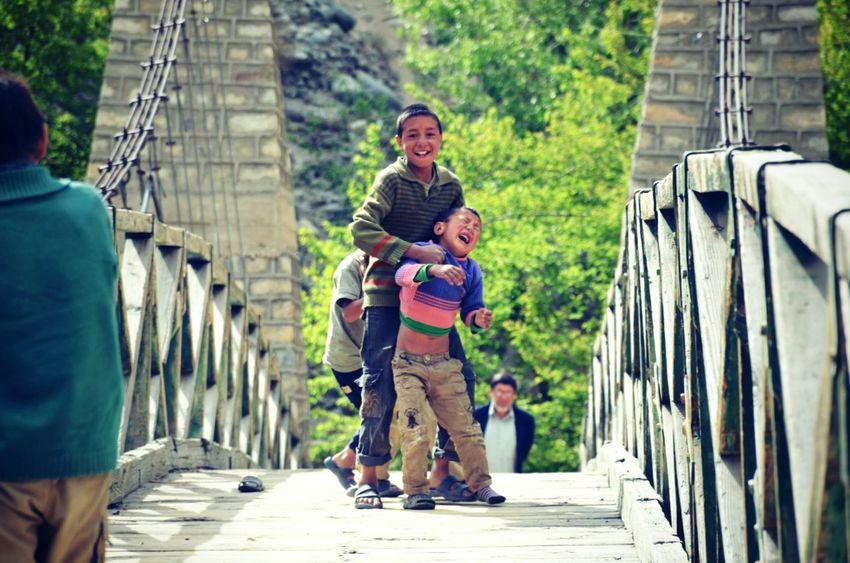 Children playing Innocence wooden bridge Turtuk Village Eyeemphoto Childhood Laughs
