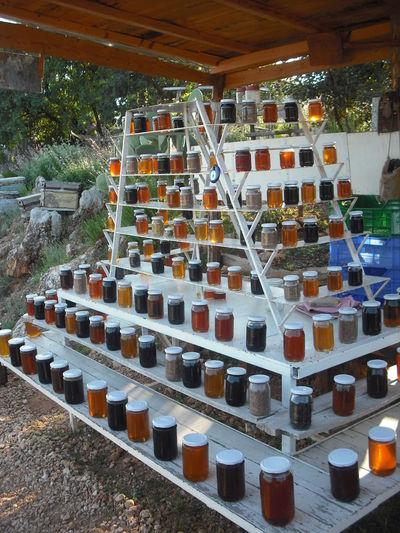 Honey from the Bees, Kekova Üçağız, Lycian Way, Türkiye Arrangement Bal Bees Collection Culture Display Honey Honey Bees  Jars  Kekova Lycian Way Nectar No People Road Shop Sweet Tradional Tradition Turkey Turkish Türkiye Üçağız.
