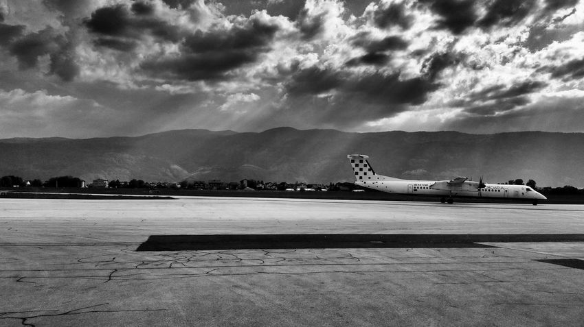Air Vehicle Airplane Airport Airport Runway Black And White Cloud - Sky Monochrome Sky Transportation Travel