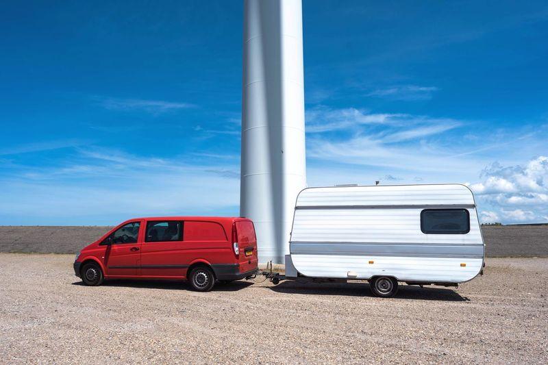 EyeEm Selects Travel Camping Traveling Caravan Retro Mercedes Vito Red Wind Windturbine Sun Shadow Light Timing Sunday Sunnyday Transportation Mode Of Transport Nikond750 Nikon Oceanside Netherlands Zeeland  Shadowplay