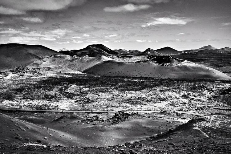 """Some infinities are bigger than other infinities."" Monochrome Black & White Timanfaya Volcano"