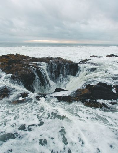 Thor's Well Blue Hour Cape Perpetua Pacific Northwest  Oregon Coast Thors Well Sea Sky Water Scenics - Nature Cloud - Sky Beauty In Nature Horizon Over Water Horizon Motion Beach No People Land Aquatic Sport Tranquility Nature Tranquil Scene Power In Nature Wave Idyllic Outdoors