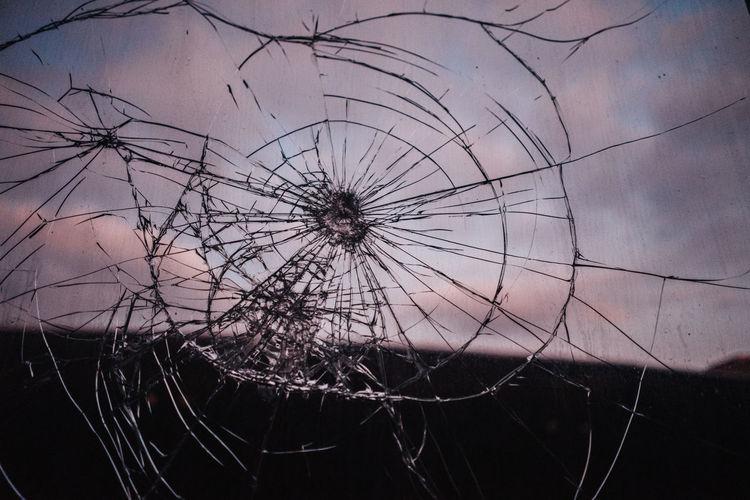 Fragility Close-up No People Damaged Broken Full Frame Sky Window Cracked Glass - Material Destruction Backgrounds Sunset
