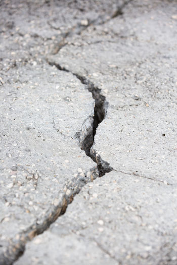 Split Arid Climate Asphalt Backgrounds Cement City Climate Close-up Cracked Day Full Frame Gravel Gray High Angle View Nature No People Outdoors Pattern Rock Rock - Object Rough Selective Focus Solid Street Textured