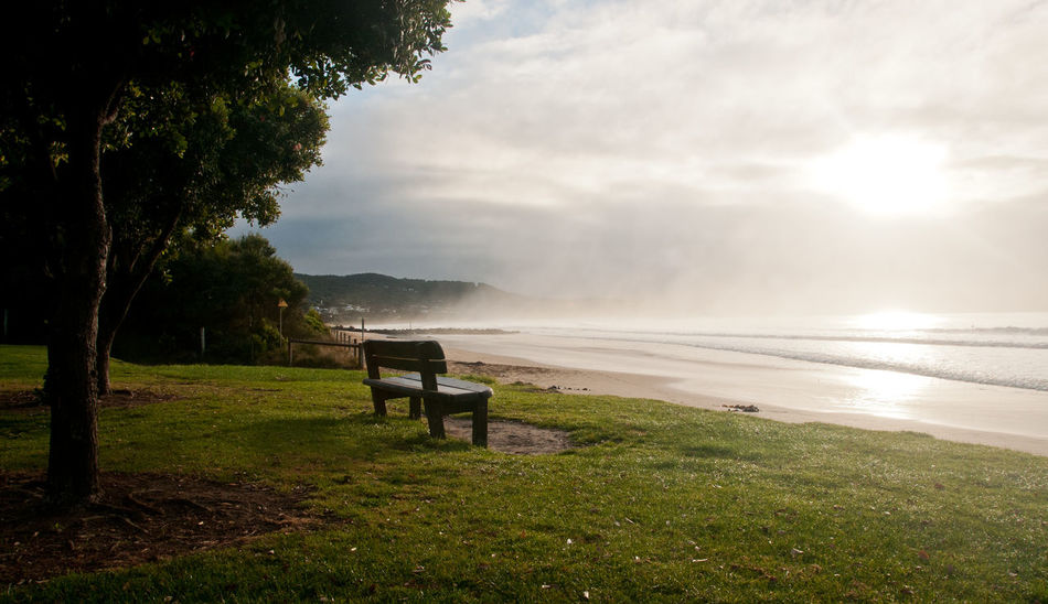 watching the sunrise. Apollo Bay Australia Beach View Bench Seat Surf Victoria Watch The Sunrise Beach Beauty In Nature Lonely Bench Melbourne Nature Sea View Sunrise Tranquil Scene Tranquility