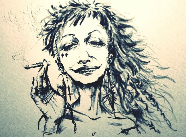 SmOkER BBA. Maoart Art Paint Smorking Punk Woman