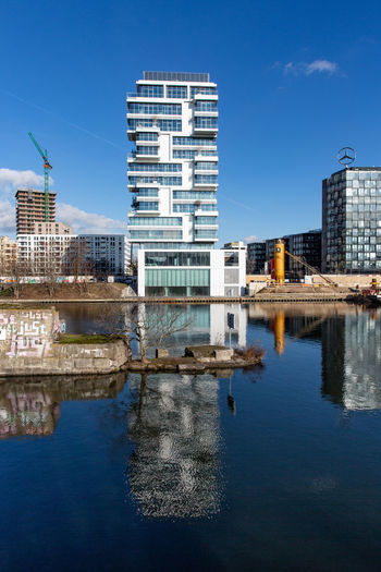 2019 Spree Riverside Friedrichshain Cityscape Skyscraper Clear Sky Outdoors River Blue Day Water Built Structure Reflection Building Architecture City Sky Waterfront Modern Office Building Exterior No People Berlin