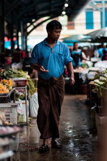 Market time Shopping Mall Market Myanmar Burma One Person Real People Full Length Night Casual Clothing Incidental People Standing City Wet Men Walking Street Focus On Foreground Rain
