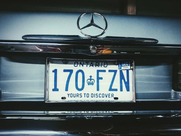 Text Convertible Vintage Classic Mercedes License Plate Canada Ontario Vehicle Car