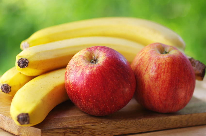 bananas and apples on green background Apple - Fruit Banana Close-up Food Food And Drink Freshness Fruit Healthy Eating Red Ripe Table Yellow