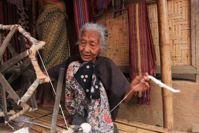 Pengrajin Tenun Kmapun Sade Lombok NTB Indonesia Grandmother Arts Culture And Entertainment Paliyan Portrait Real People Women