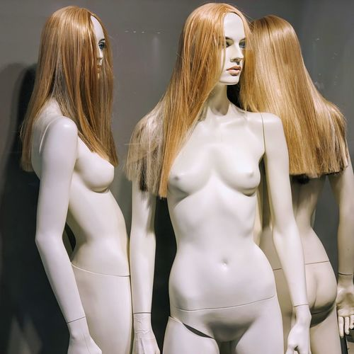 Naked mannequins in store