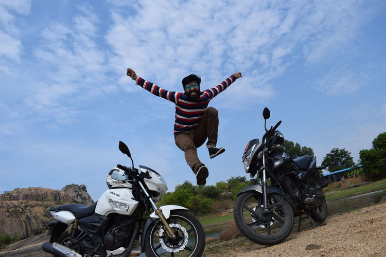 jumping Bike Bikes Honda TVs South India Nikon Nikond5300 Beauty Day Day Photography Looking At Camera Motocross Headwear Biker Motorcycle Men Full Length Protective Workwear Sports Helmet Riding Sky