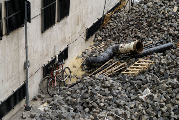 Pile of rubble beside old building