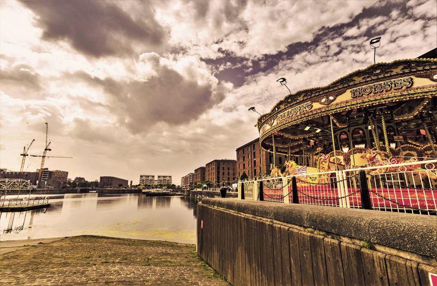 Carousel Horse Carousel Albert Docks Albert Dock Docks Buildings & Sky Waterfront Merseyside Liverpool, England Liverpool Docks Liverpool Old Building  Pier Head
