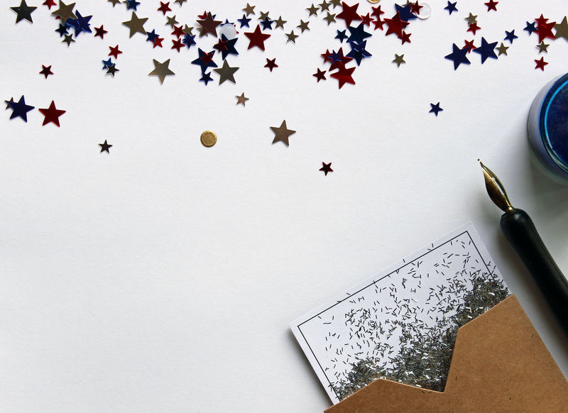 Holiday desk top Background Blank Paper Border Business Celebration Confetti Copy Space Desktop Directly Above Election Festive Frame Holiday Invitation July 4th Memorial Day Notes Office Patriotic Pen And Ink Redwhiteandblue Stars Vote Work Writing Supplies