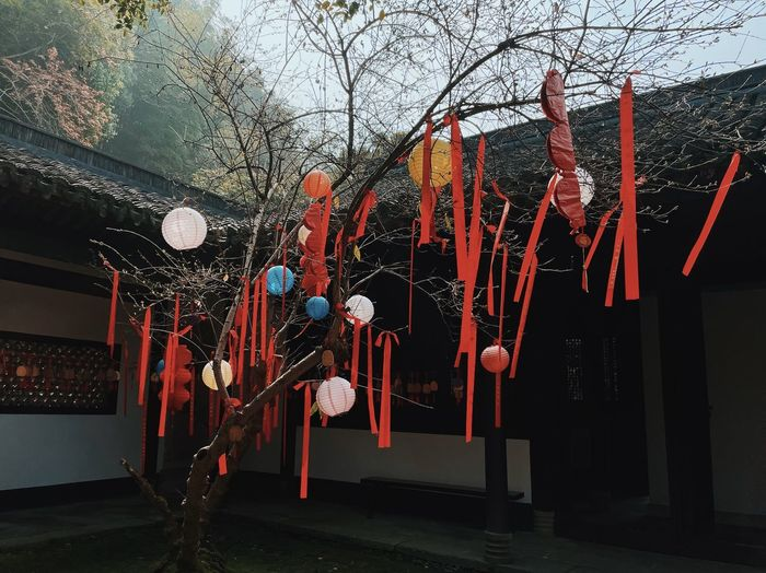 Illuminated lanterns hanging by building against sky