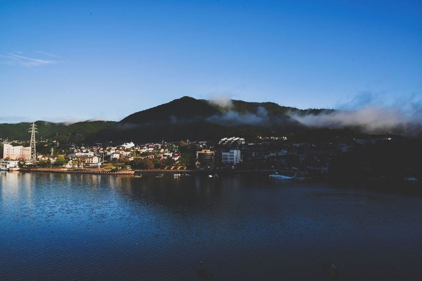 Minimal Landscape Highlands Japan Beautiful Nature Foggy Mountains Foggy Morning Foggy Smog Smoke Light And Shadow High Angle View Landscape_Collection Landscape Boat 相模湖 Lake Sagami Lake View Lakeview Lake Forest House Water Built Structure Architecture Mountain Clear Sky Building Exterior Outdoors Blue Nature