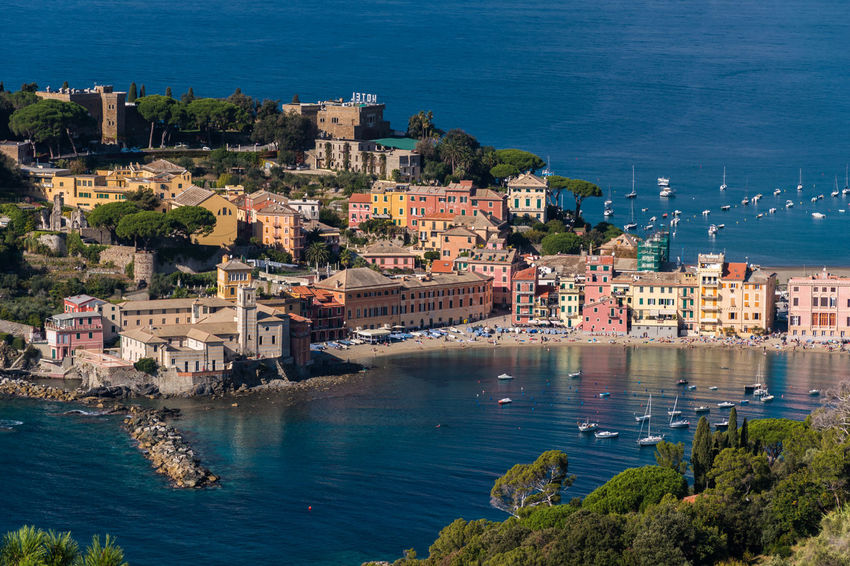 The seafront and the beach of Sestri Levante, seen from distant surrounding hills City Genoa Genova Panoramic Promenade Sestri Sestri Levante Skyline Travel View Aerial Aerial View Bay Buildings High Angle View Italy Landscape Liguria No People Outdoors Scenics Town Urban Waterfront
