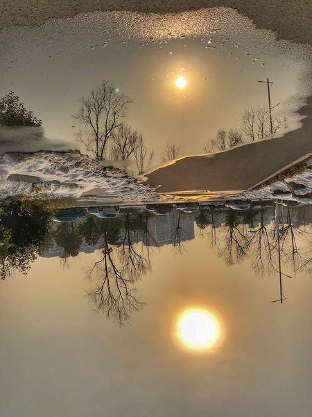 The world as it is Ustc University University Hefei China Trees Snow Cars Flip Upside Reflection Sun Water Tranquil Scene Sunset Beauty In Nature Nature Sky Day Winter