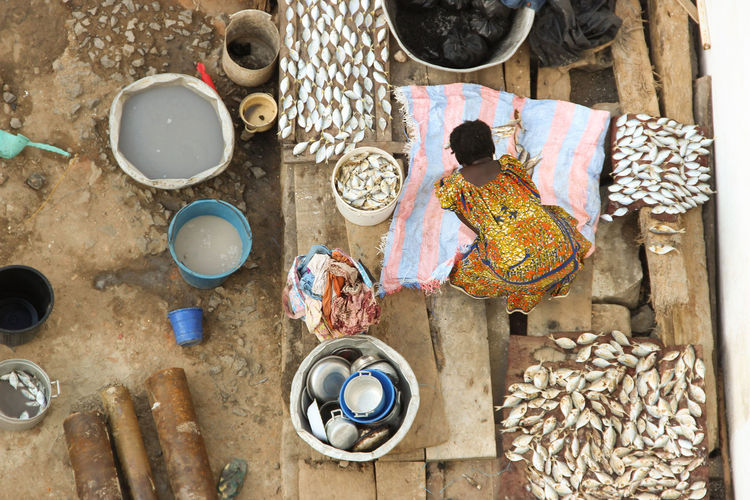 High Angle View Of Woman Drying Fishes On Wood