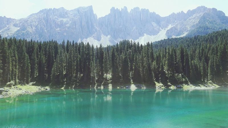 Karersee Italy Italian Südtirol Southtyrol  Mountain Tree Nature Beauty In Nature Forest Day Sky Outdoors Water Landscape No People Lake Holiday Travel Traveling