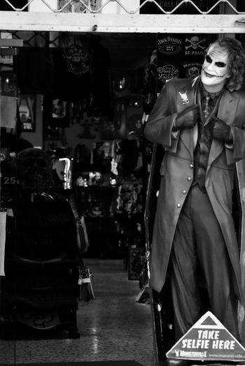 """The Character"" Costume Costumes Carnival Carnival Spirit Carnival Time Eye4photography  EyeEm Gallery Blackandwhite Photography Blackandwhite Disguise Joker Joker Smile Batman MOVIE The Week on EyeEm Store Retail  Clothing Adult People Adults Only Men"