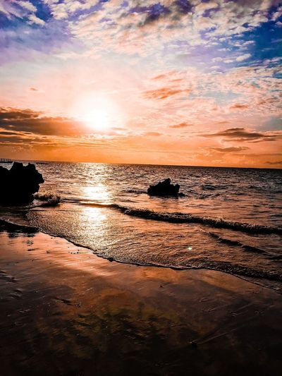 Serenity Water Sunset Sky Beauty In Nature Beach Scenics - Nature Sea Cloud - Sky Land Tranquility Tranquil Scene Nature No People Idyllic Reflection Orange Color Outdoors Non-urban Scene Horizon Over Water Low Tide Capture Tomorrow