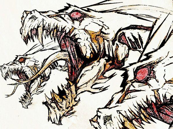 Dragon Hydra Beast Drawing