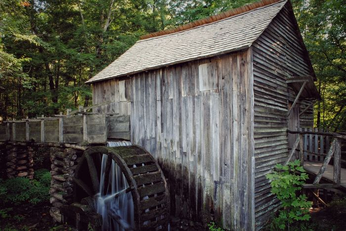 Abandoned Architecture Building Exterior Built Structure Cades Cove Deterioration Exterior Forest Mill No People Old Outdoors Roof Rural Scene Water Mill Water Wheel Weathered